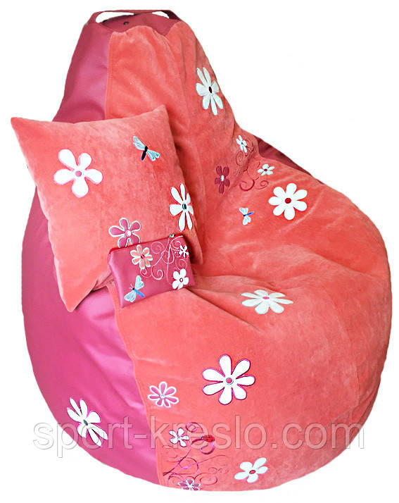 Кресло мешок пуф Ромашка, Велюр размер XL 110*130см