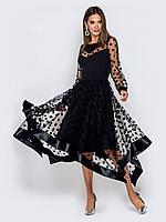 Вечернее черное платье ниже колена с гипюром 44 46 48 50