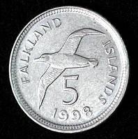 Монета Фолклендских островов 5 пенсов 1998 г. Альбатрос
