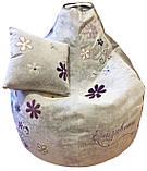 Кресло мешок пуф Ромашка, Велюр размер XL 110*130см, фото 10