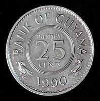 Монета Гайаны 25 центов 1990 г.