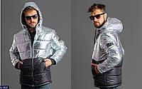 Мужская куртка черно-серебристая 54-56 58-60