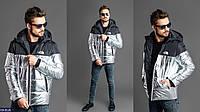 Мужская куртка черно-серебристая 46 48 50 52