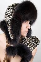 Варежки с леопардовым принтом с мехом  песца VM2  Коричневый