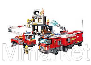 """Конструктор Qman 2810 """"Пожарная техника"""", здание, машины, фигурки, 996 деталей"""