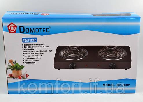 Электроплита 2 комфорки спираль Domotec MS-5802 (1000 Вт), фото 2