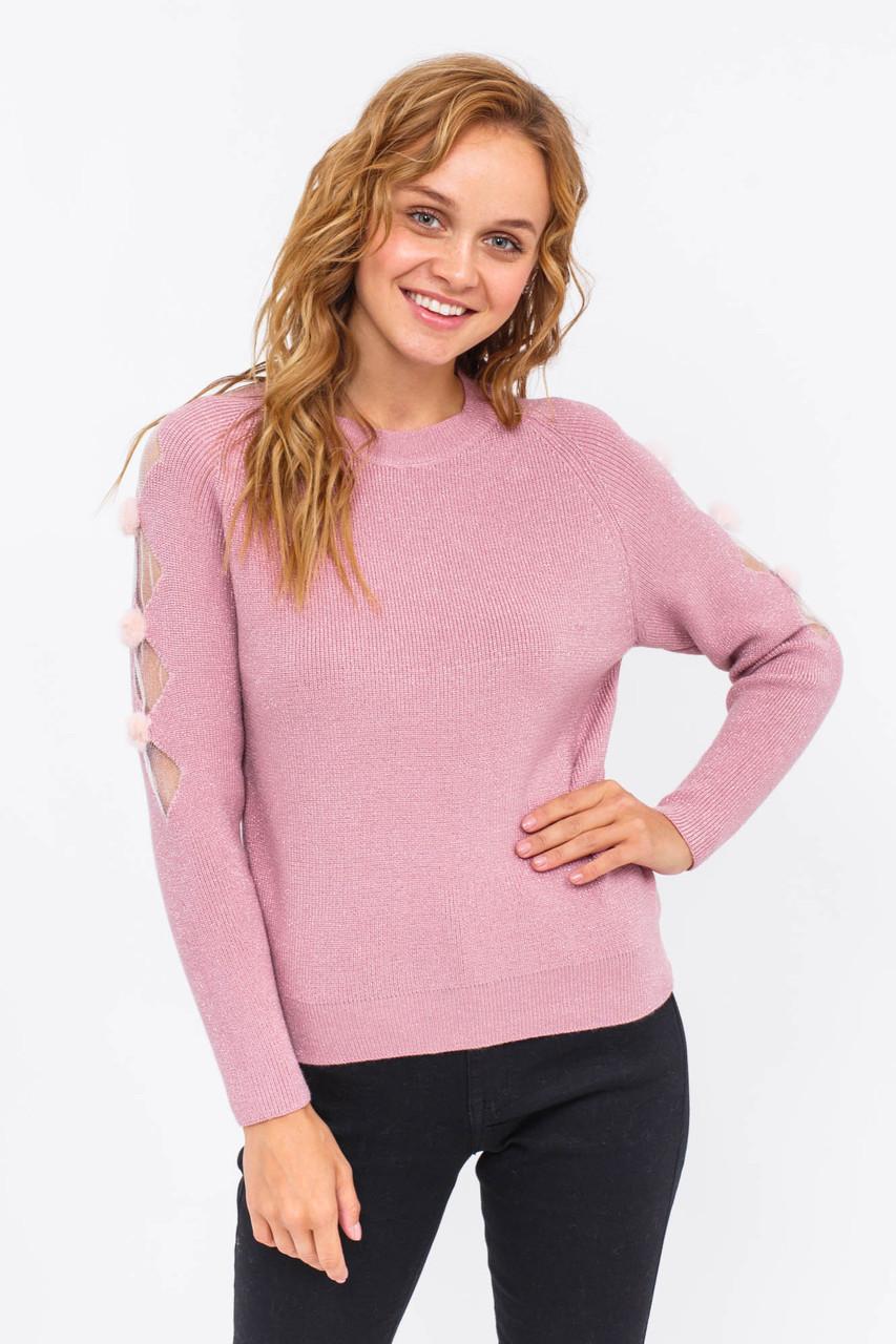 Стильный джемпер с люрекса оригинальный рукав LUREX - розовый цвет, S (есть размеры)