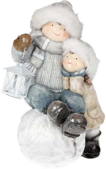 """Фигура декоративная """"Детки с фонариком на снежке"""" 48.5см"""