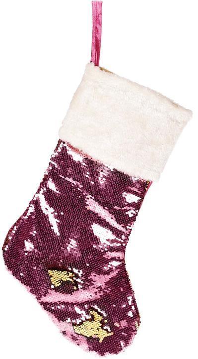 """Носок для подарков """"Блестящий розовый"""" 53см, с пайетками"""