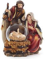 """Рождественская композиция """"Святое семейство"""" с водяным шаром, 17.5см"""