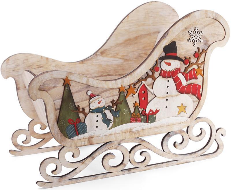 """Декоративні сани """"Сніговики"""" 63.5 см дерев'яні"""
