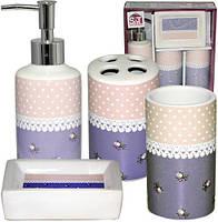 """Набор аксессуаров """"Ситец"""" для ванной комнаты 4 предмета, керамика"""