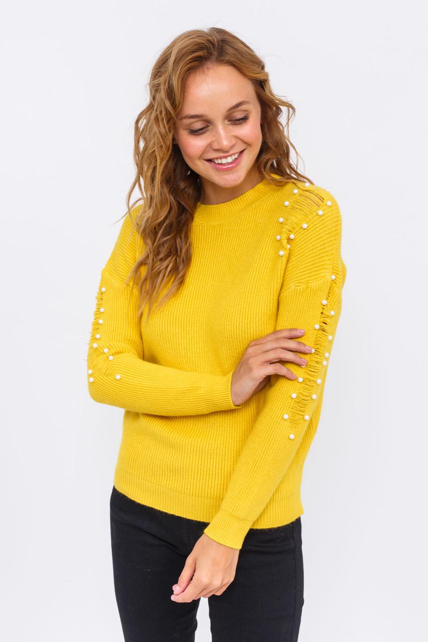 Стильный джемпер с жемчугом LUREX - желтый цвет, S (есть размеры)