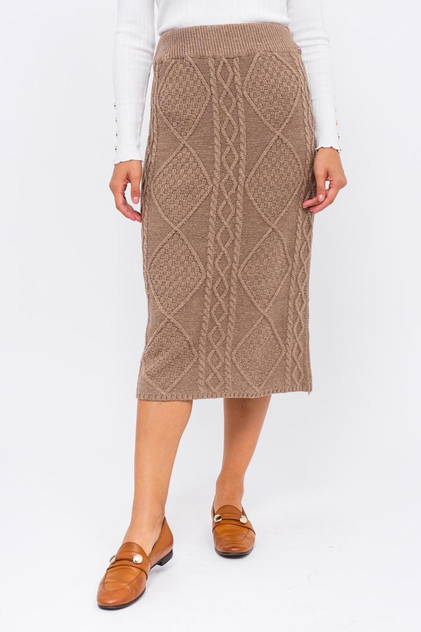 Теплая вязаная юбка LUREX - коричневый цвет, S (есть размеры)