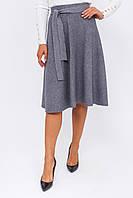 Теплая юбка с пояском LUREX - серый цвет, S (есть размеры), фото 1