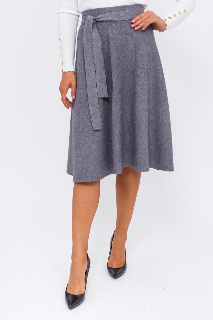 Теплая юбка с пояском LUREX - серый цвет, M (есть размеры)