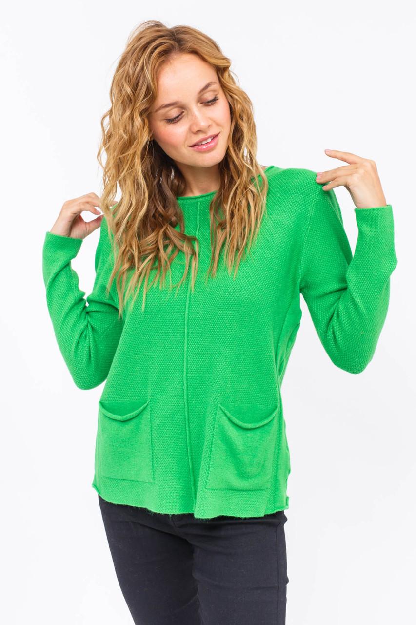 Джемпер с накладными карманами P-M - зеленый цвет, L/XL (есть размеры)