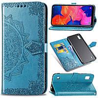 Чехол Vintage для Samsung Galaxy M10 2019 / M105F книжка кожа PU голубой