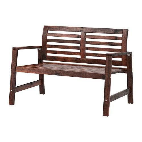 ИКЕА (IKEA) ЭПЛАРО, 802.085.29, Садовая скамья со спинкой, коричневый коричневая морилка