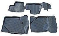 Коврики в салон Lada Kalina, Granta 2004 -, черные, резиновые (БРТ, КОМПЛЕКТ КРКР) - комплект (4 шт.) + перемычка