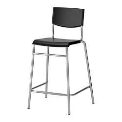 ИКЕА (IKEA) СТИГ, 101.527.00, Стул барный, черный, серебристый, 63 см