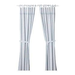 ИКЕА (IKEA) GULSPARV, 304.270.96, Гардины с прихватом, 1 пара, в синие полосы, белый, 120x300 см - ТОП ПРОДАЖ