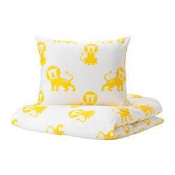 ИКЕА (IKEA) DJUNGELSKOG, 303.937.27, Комплект постельного белья, лев, желтый, 150x200/50x60 см - ТОП ПРОДАЖ