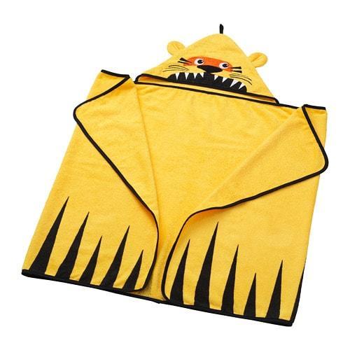 ИКЕА (IKEA) DJUNGELSKOG, 803.938.24, Полотенце с капюшоном, тигр, желтый, 70x140 см - ТОП ПРОДАЖ
