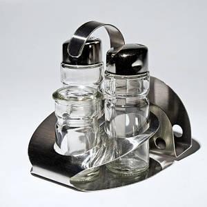 Спецовницы { соль+перец+салф+зубочистка } на нержавеющей подставке (набор 5 пр )