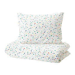 ИКЕА (IKEA) MÖJLIGHET, 104.236.88, Комплект постельного белья, белый, мозаичный узор, 150x200/50x60 см - ТОП ПРОДАЖ