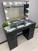 Стол для визажа с витринной столешницей в черном цвете