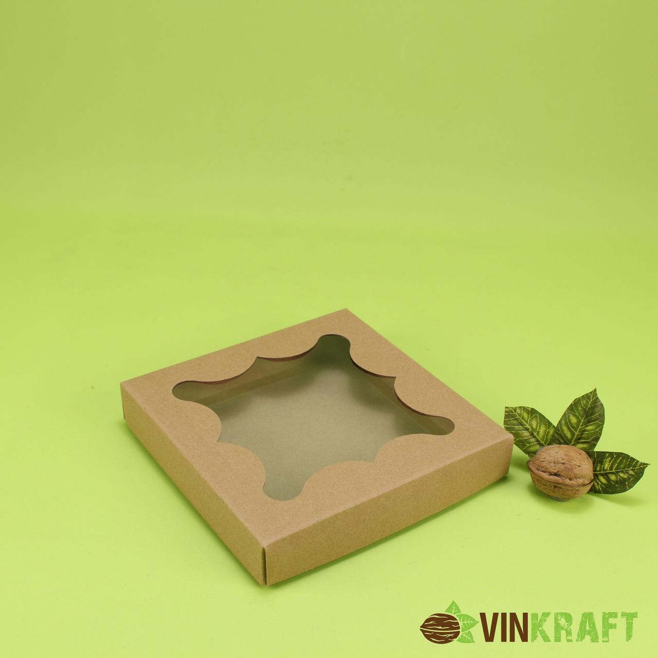 Коробка 155*155*30 для пряника з вікном, крафт