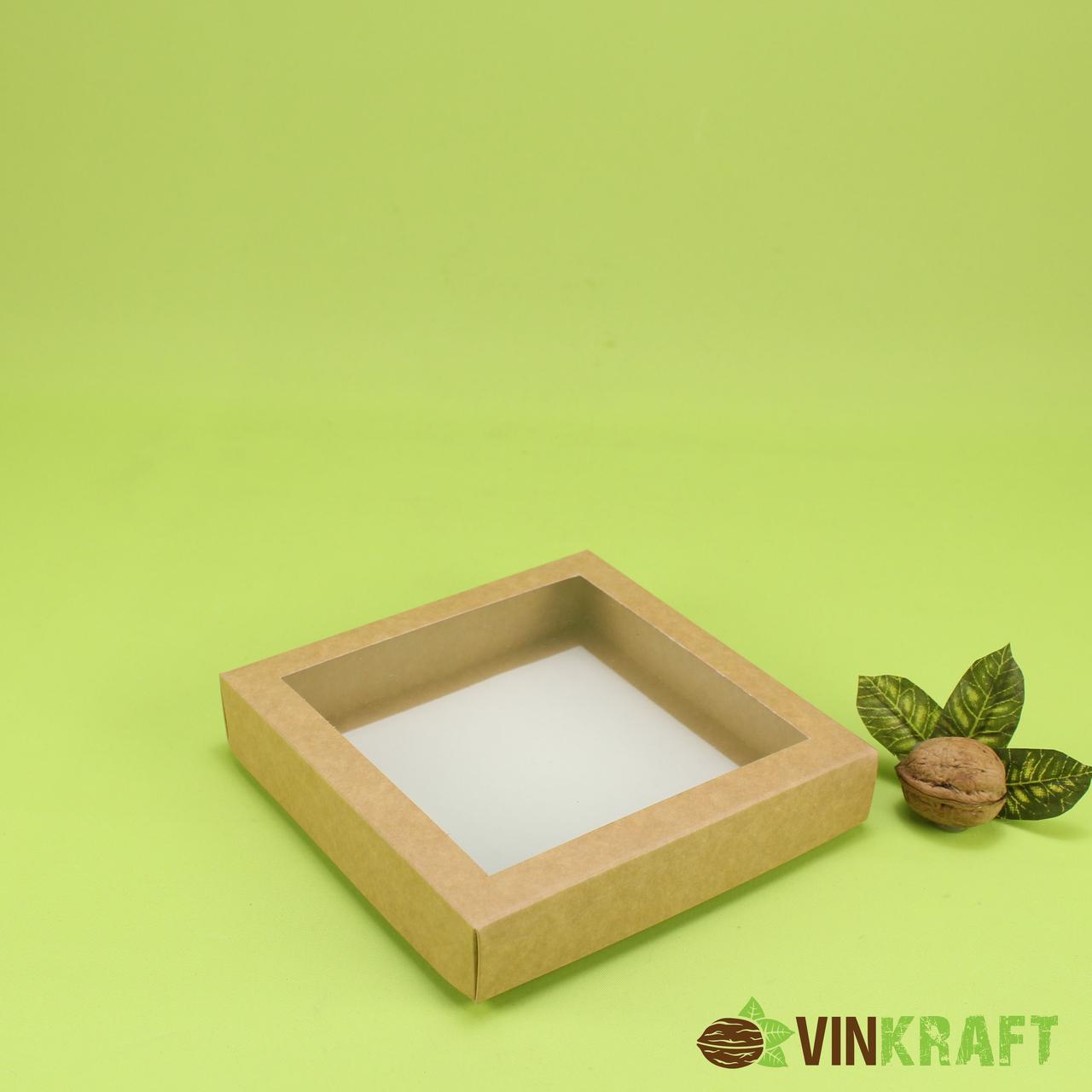 Коробка 150*150*30 для пряника з вікном, крафт