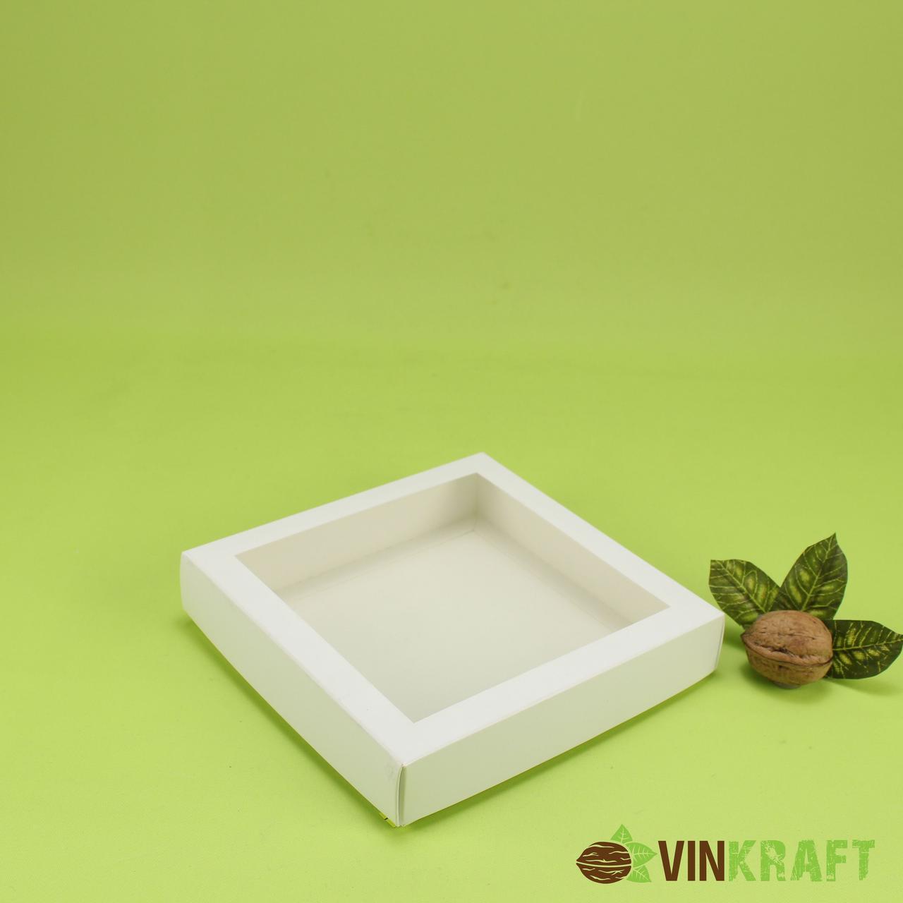 Коробка 150*150*30 для пряника з вікном, біла