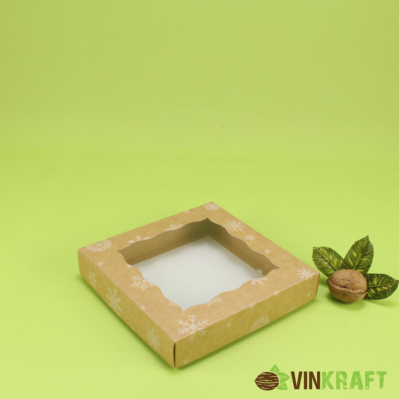 """Коробка 150*150*30 для пряника з вікном """"Сніжинка"""", крафт"""