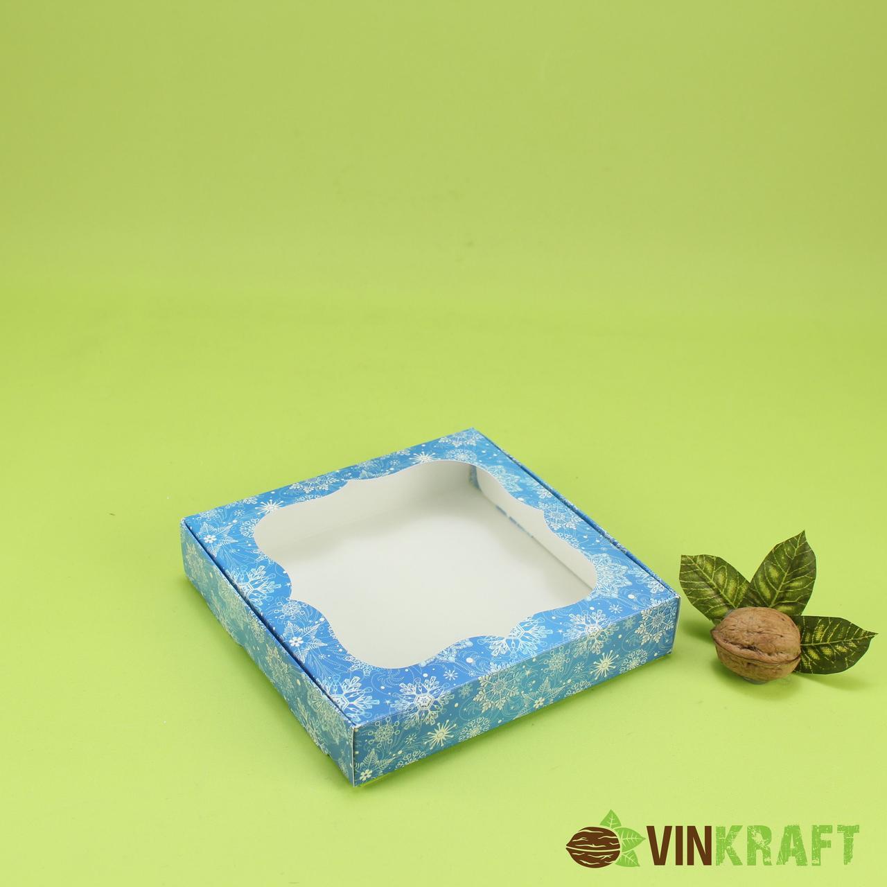 """Коробка 150*150*30 для пряника з вікном  """"Сніг"""", синя"""