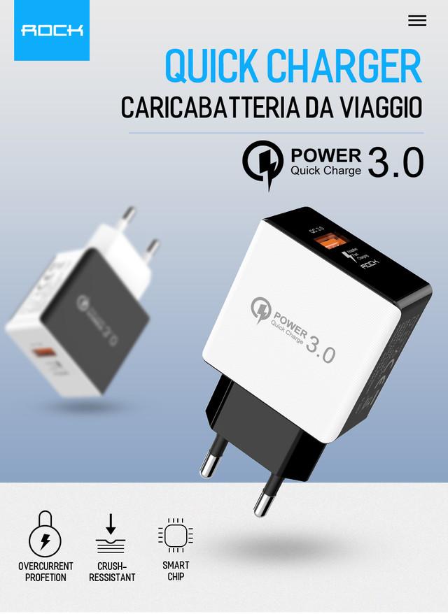 Универсальное сетевое зарядное устройство Rock QC3.0 Qualcomm Quick Charge 18W SD-Q31KC Белое