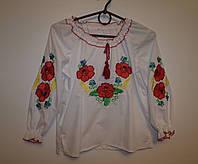 """Детская блузка вышиванка """"Маки+Колоски"""""""