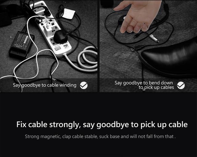Магнитный органайзер держатель для проводов Baseus Peas Cable Clip ACWDJ-01 Черный