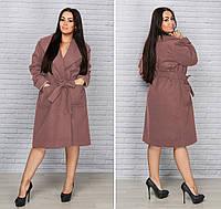 """Демисезонное женское кашемировое пальто """"Беччи"""" с карманами (большие размеры)"""