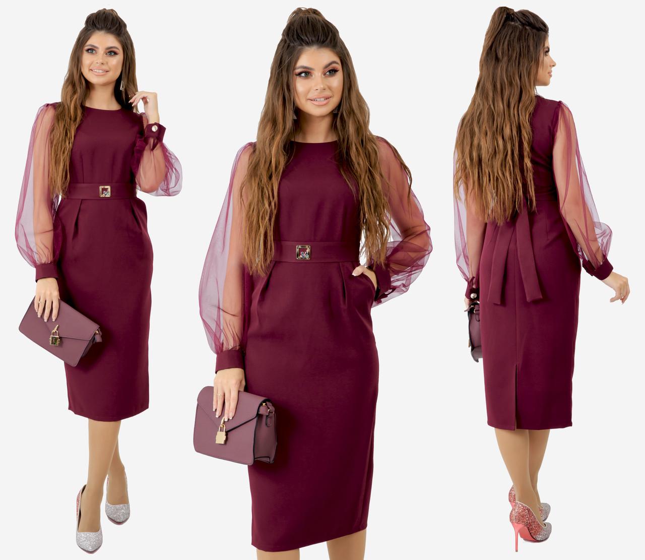 Платье цвет марсала, приталенного кроя с поясом, отделка сетка, есть карманы  арт 240-92