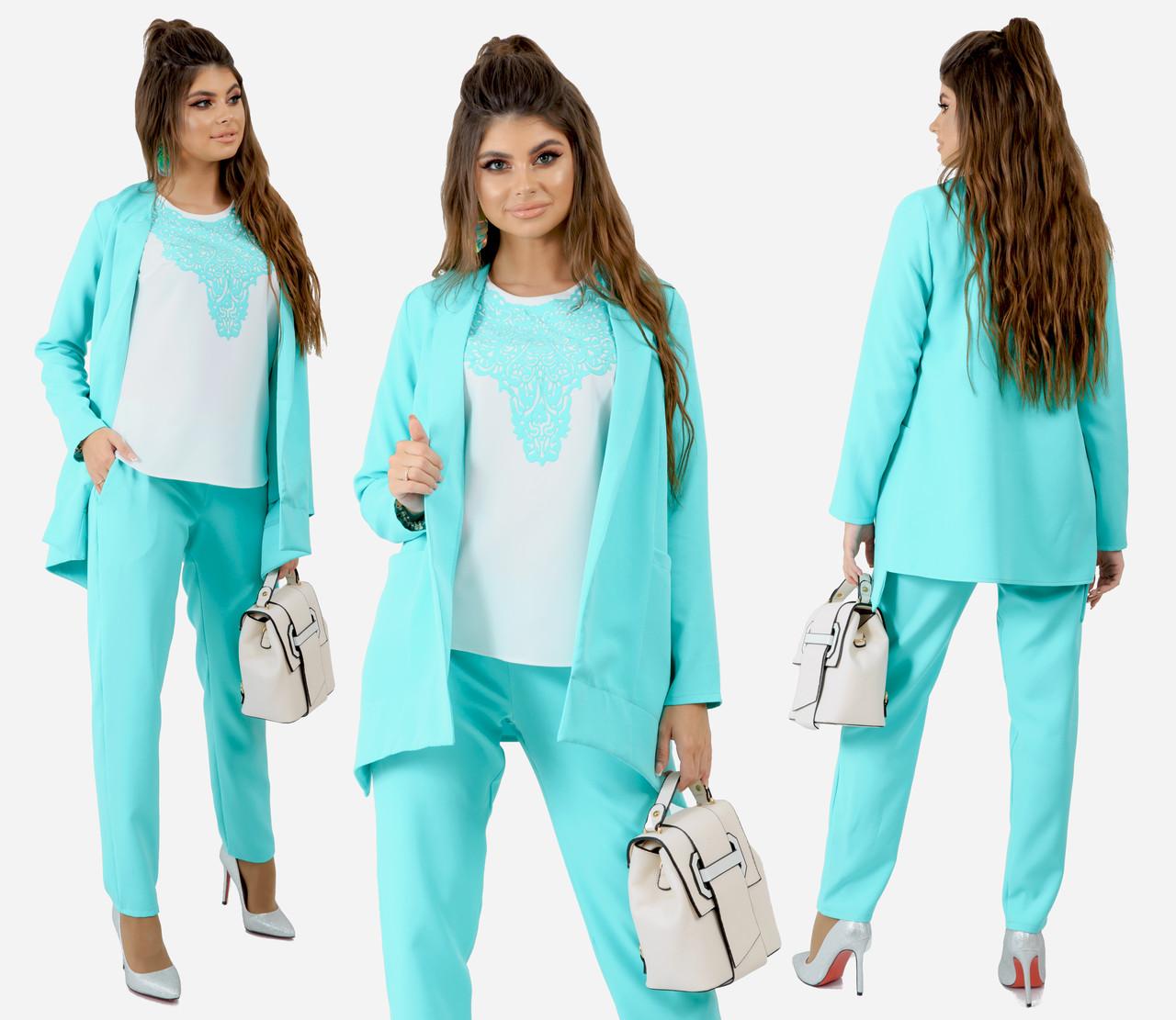 """Классический костюм """"Адель"""" брюки+пиджак+блузка цвет мята, декор кружево  243-92"""
