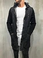 Мужская джинсовая куртка удлиненная серо-черная джинсовка мужская