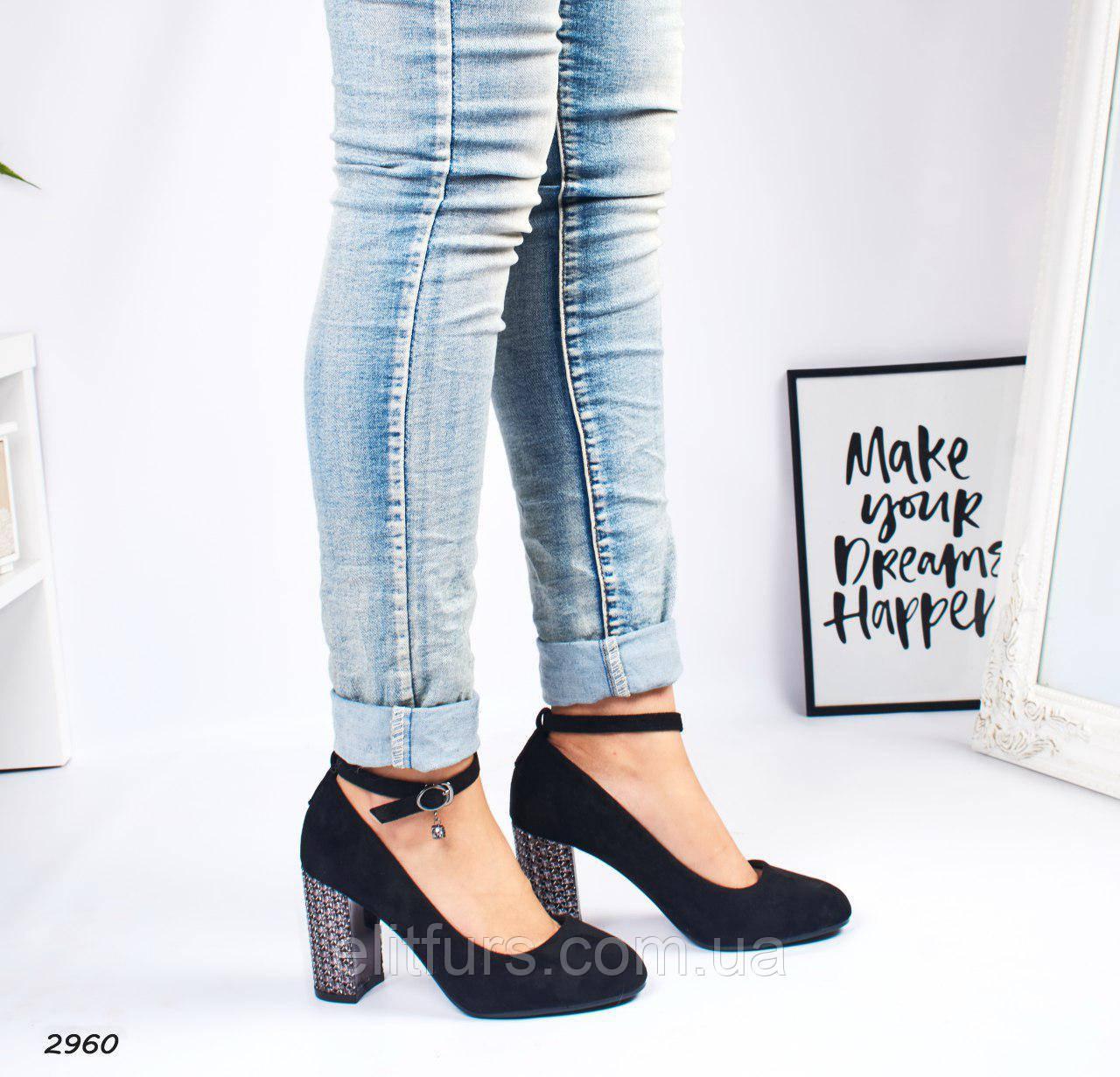 Туфли элегантные с красивым каблуком, эко-замш