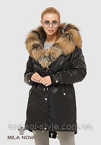 Парка женская зимняя  больших размеров натуральный мех чернобурки черная