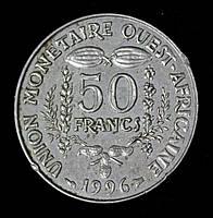 Монета Западной Африки 50 франков 1996 г.