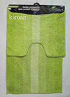 Набор ковриков для ванной комнаты Махрамат 60х90 см + 60х50 см с вырезом под туалет (салатовый)
