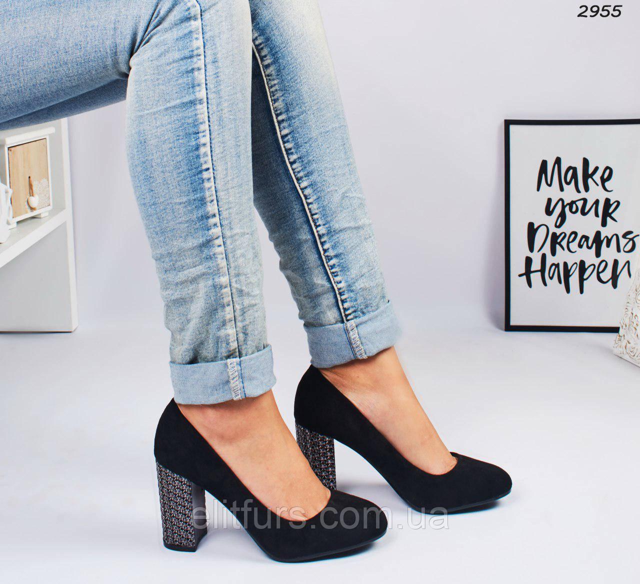 Туфли стильные на каблуках, эко-замш