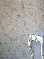 Вінілові шпалери на флізелін GranDeco Villa danelli VD3006 метрові на коричневому тлі гілки квіти завитки, фото 1