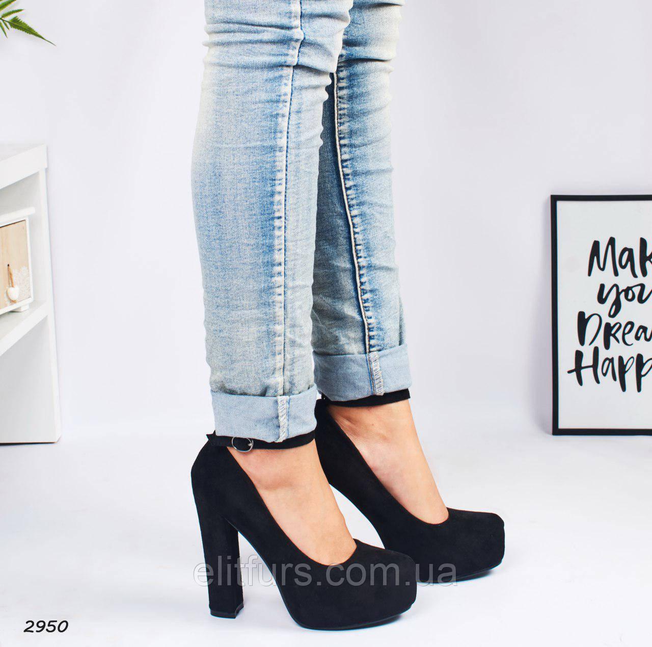 Туфли шикарные на высоких каблуках, эко-замш